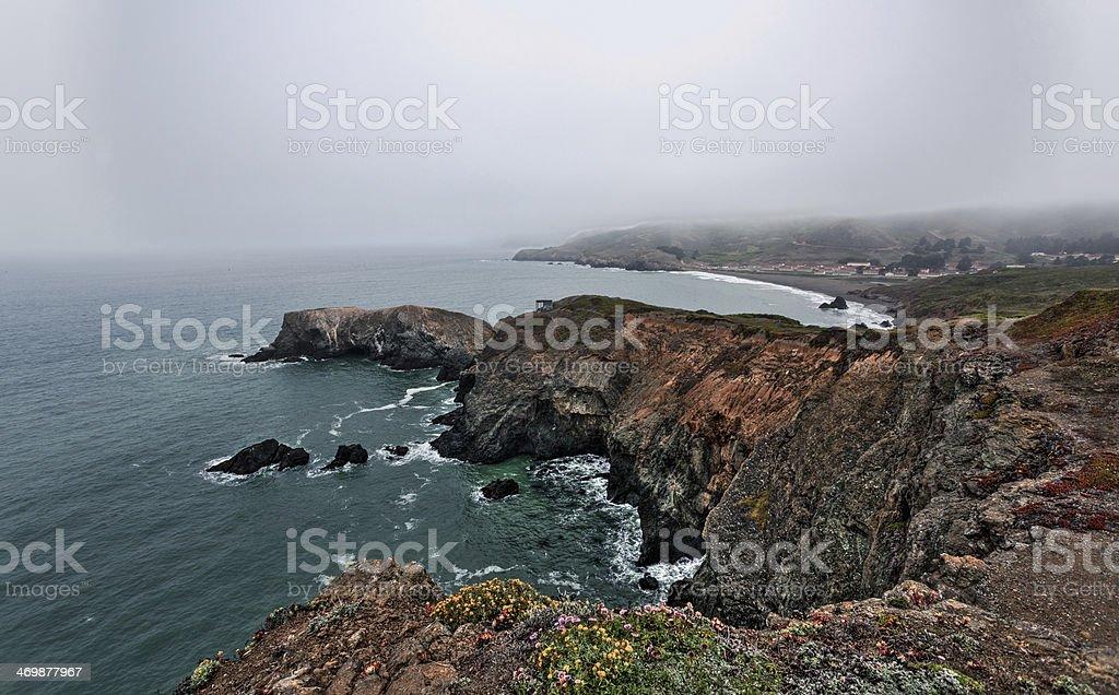 Rocky Coast and Stormy Sky in San Francisco Bay, California stock photo