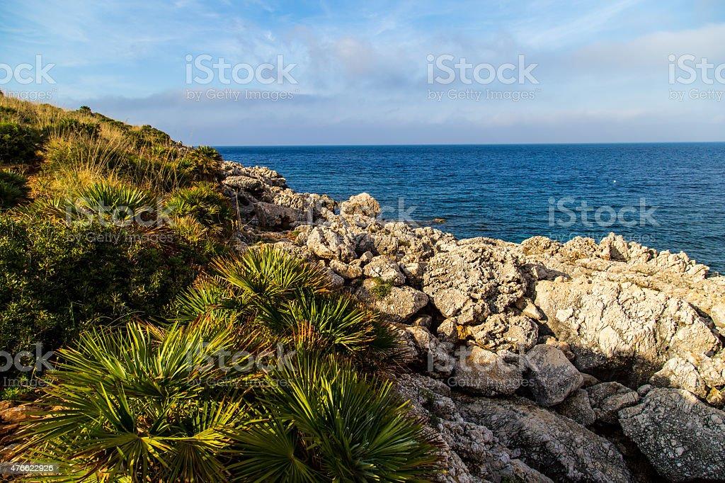 Rocky coast at Riserva Naturale dello Zingaro stock photo