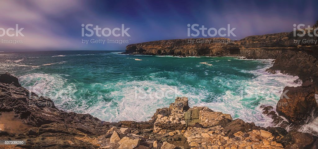 Rocky coast in Ajuy stock photo