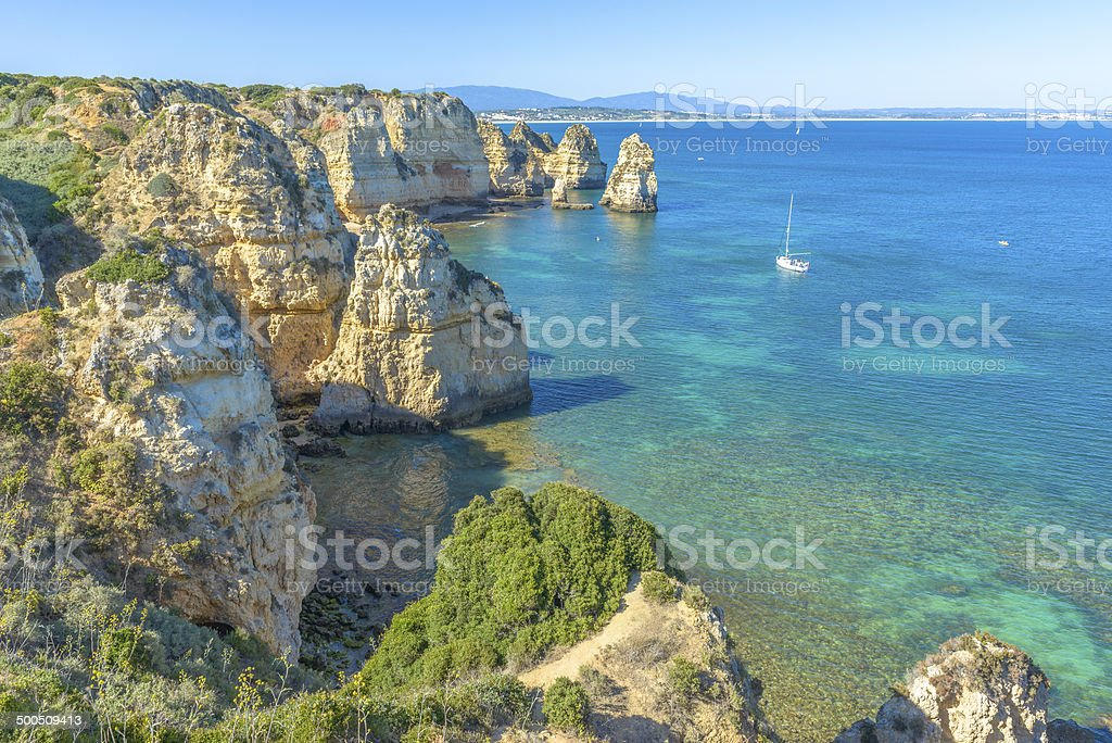 Rocky Coast in Algarve stock photo