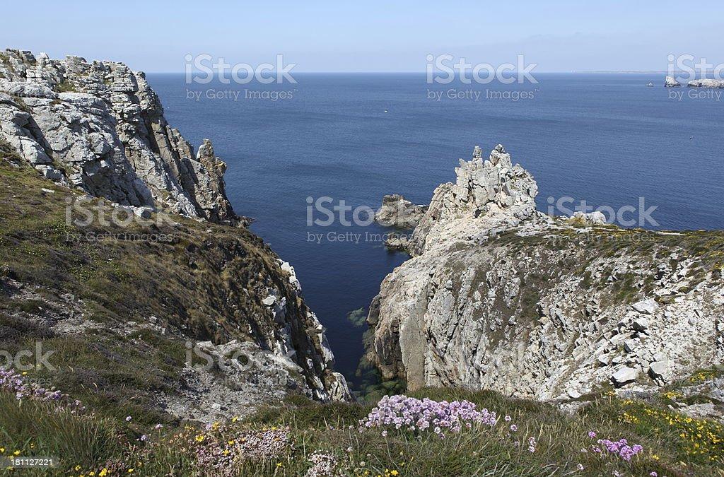 Rocky coast in Brittany stock photo