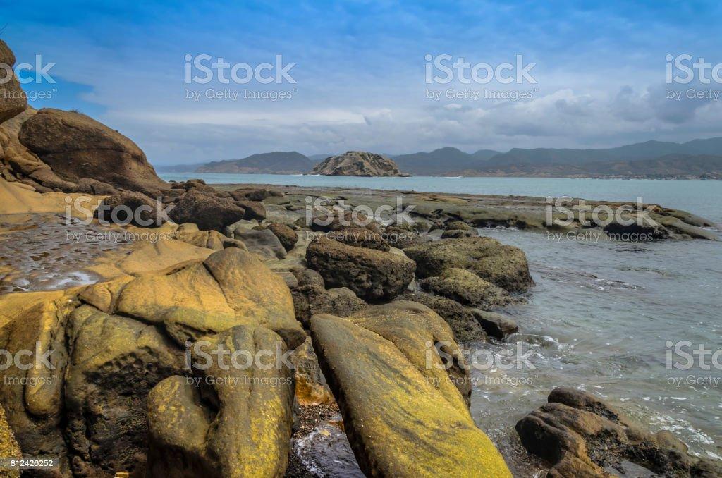 Rocky coast in Ecuador. stock photo