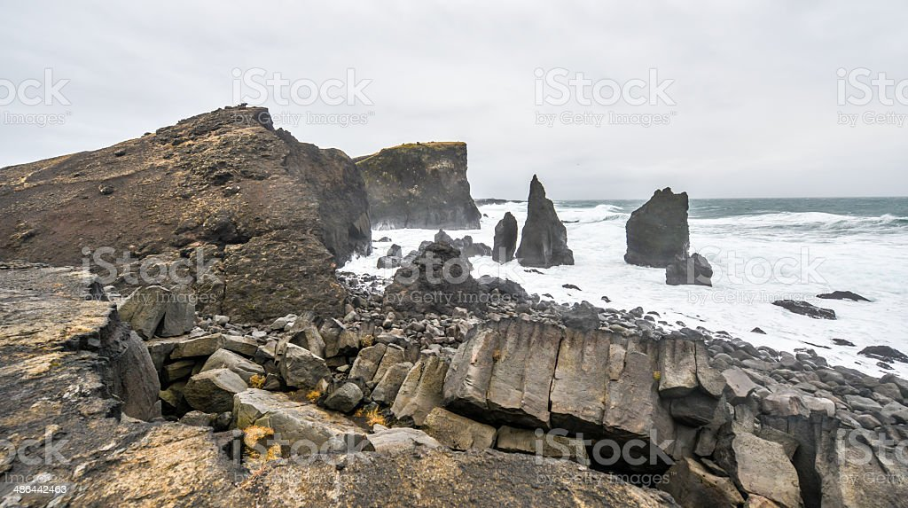 Rocky coast near Reykjanes, Iceland stock photo