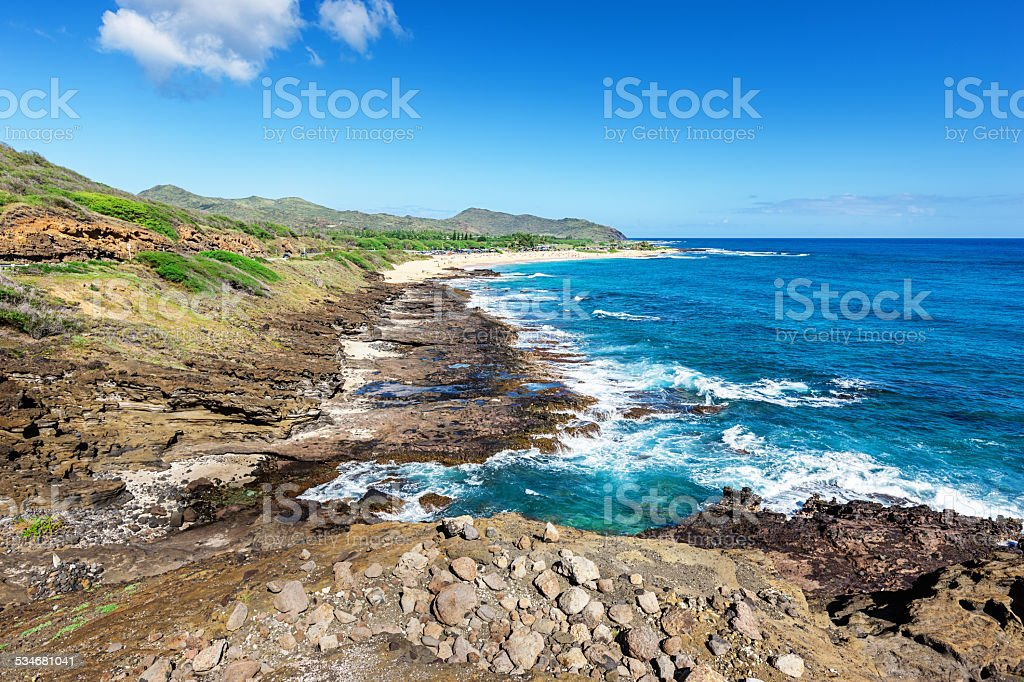 Rocky Coast Oahu North Shore  Hawaii stock photo