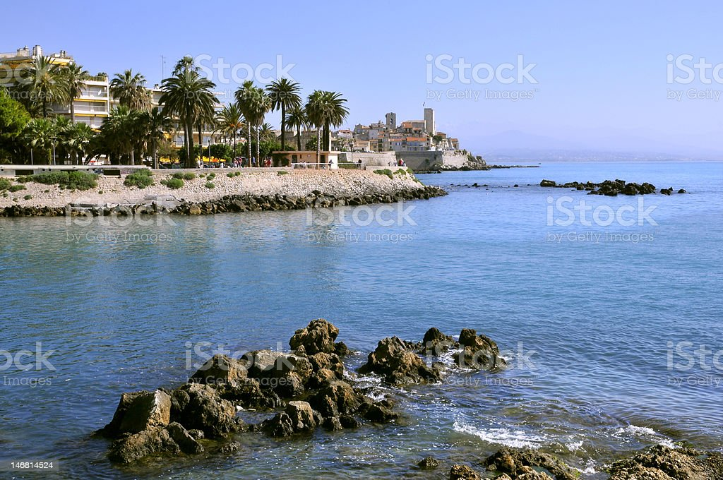 Rocky coast of Antibes in France stock photo