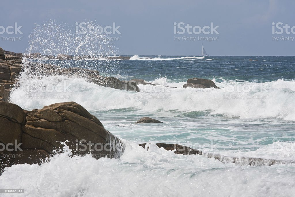 Rocky coast of Brittany with big breakers royalty-free stock photo