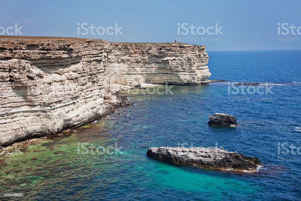 Rocky coast of Cape Tarhankut in Crimea stock photo