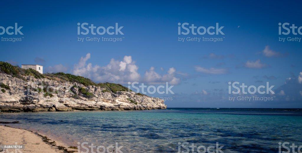 Rocky coast of Grand Turk stock photo