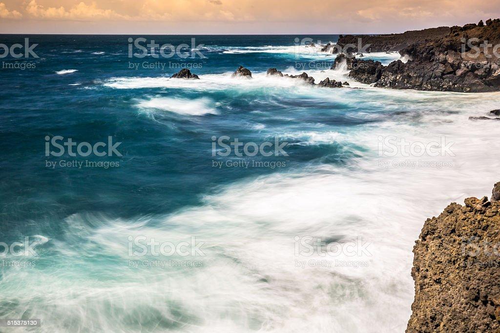 Rocky coast of Los Hervideros, Lanzarote stock photo