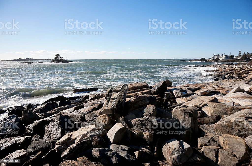 Rocky coast of Maine at Ocean Point location stock photo