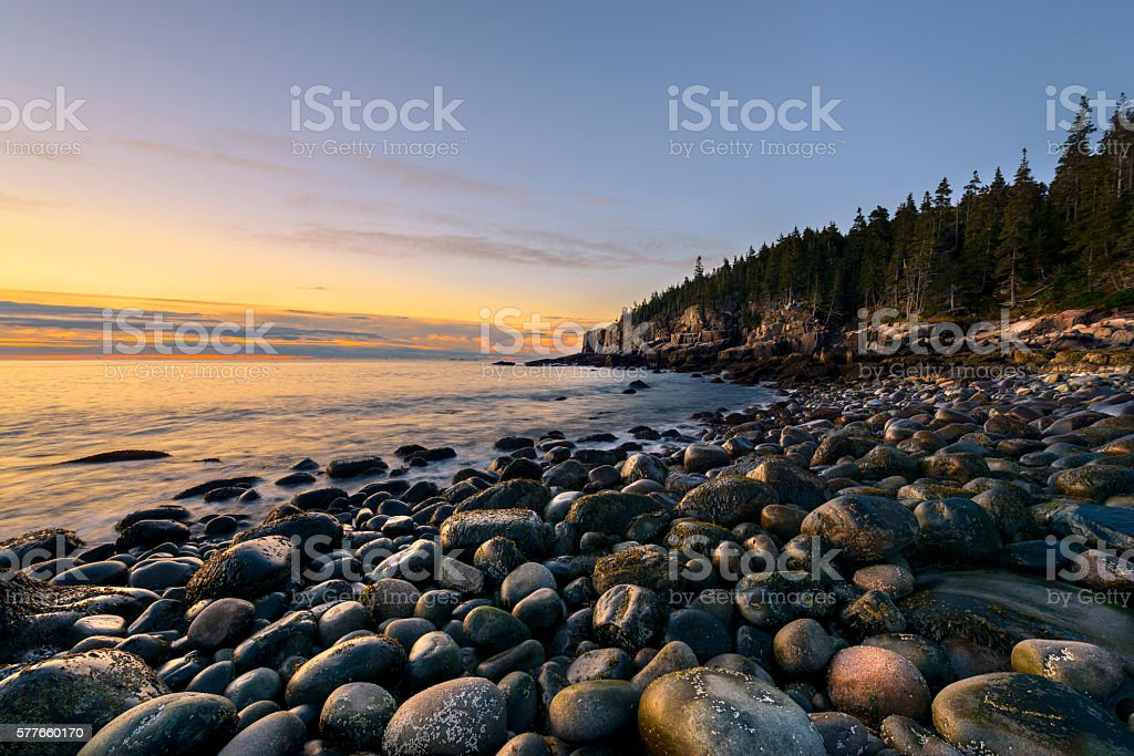 Rocky Coast of Maine in Autumn stock photo