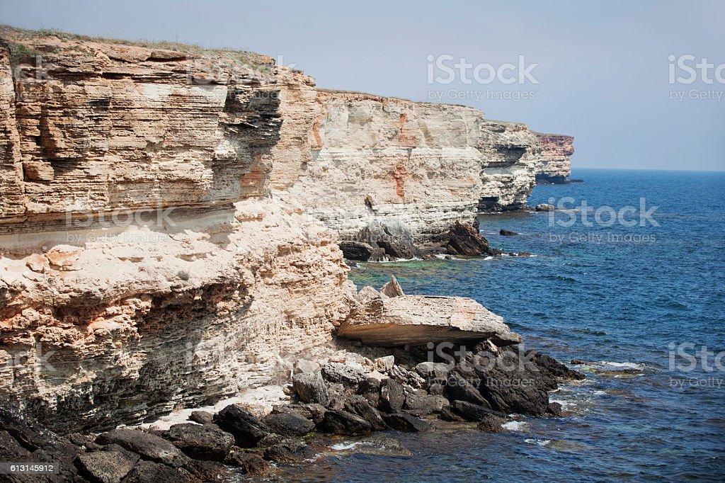 Rocky coast of Tarhankut Cape in Crimea stock photo