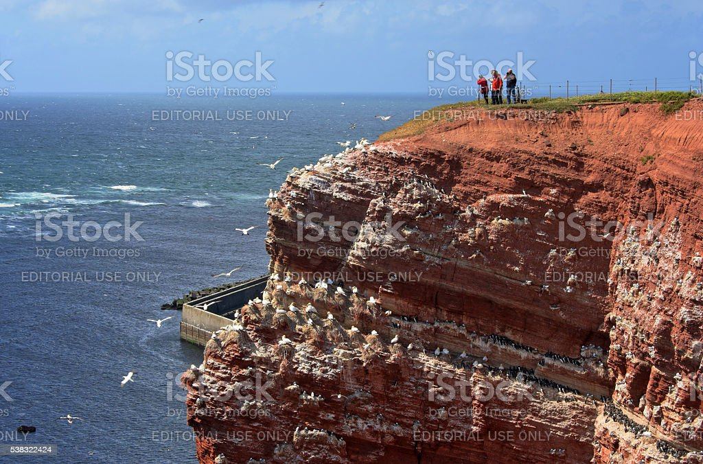 Rocky coast on Helgoland, North Sea, Germany stock photo