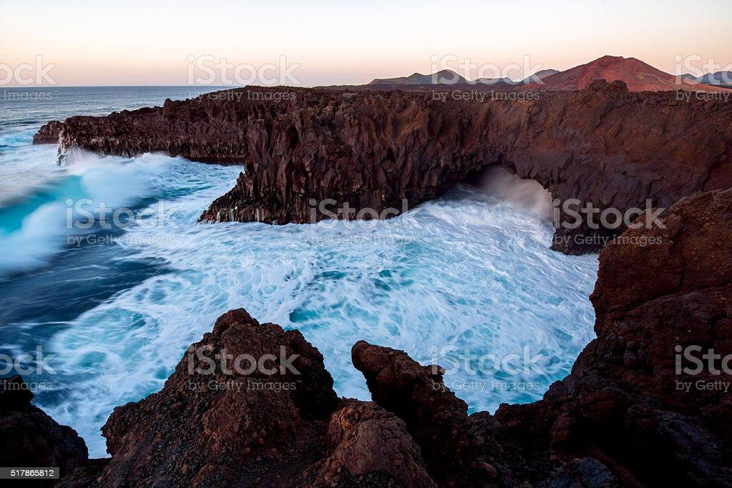 Rocky coast on Lanzarote island stock photo