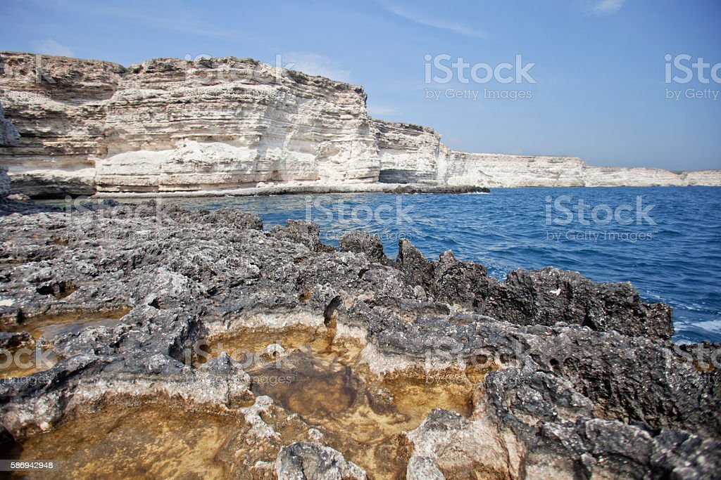 Rocky coast Tarhankut cape in Crimea stock photo