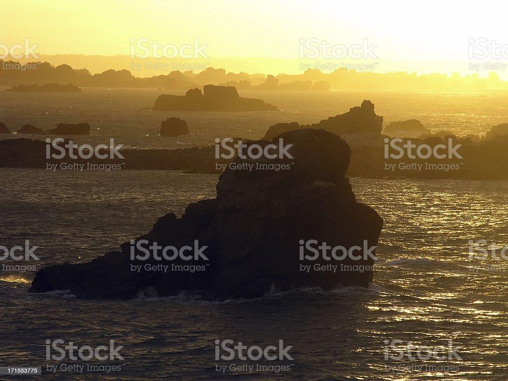 Rocky Coast with Yellow Light royalty-free stock photo