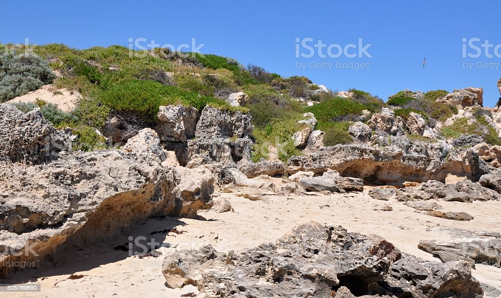 Rocky Coastal Dunes at Point Peron stock photo