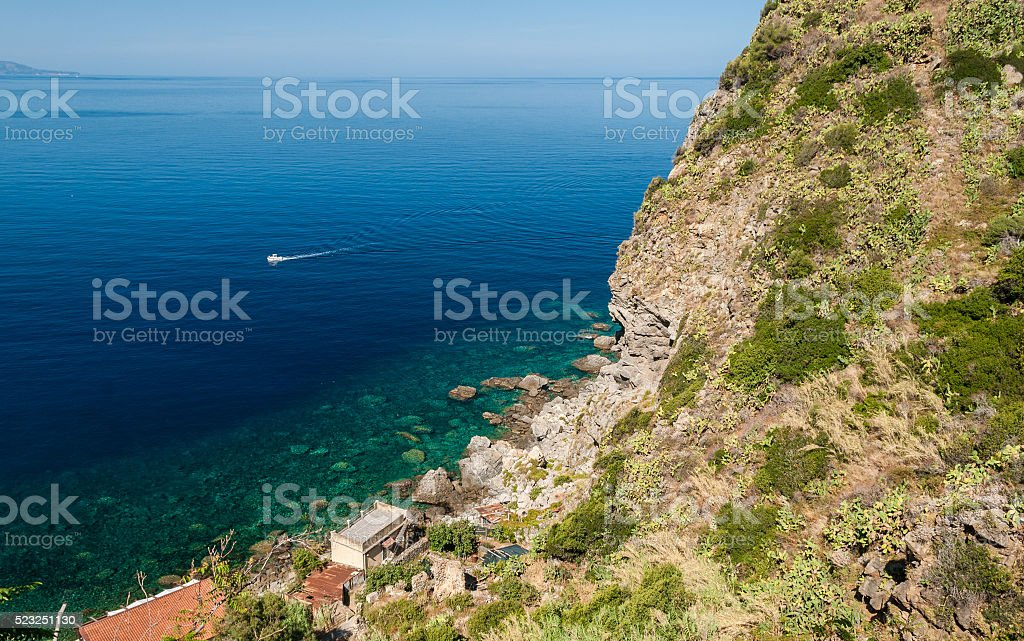Rocky coastline along 'Costa Viola' in Calabria (southern Italy) stock photo