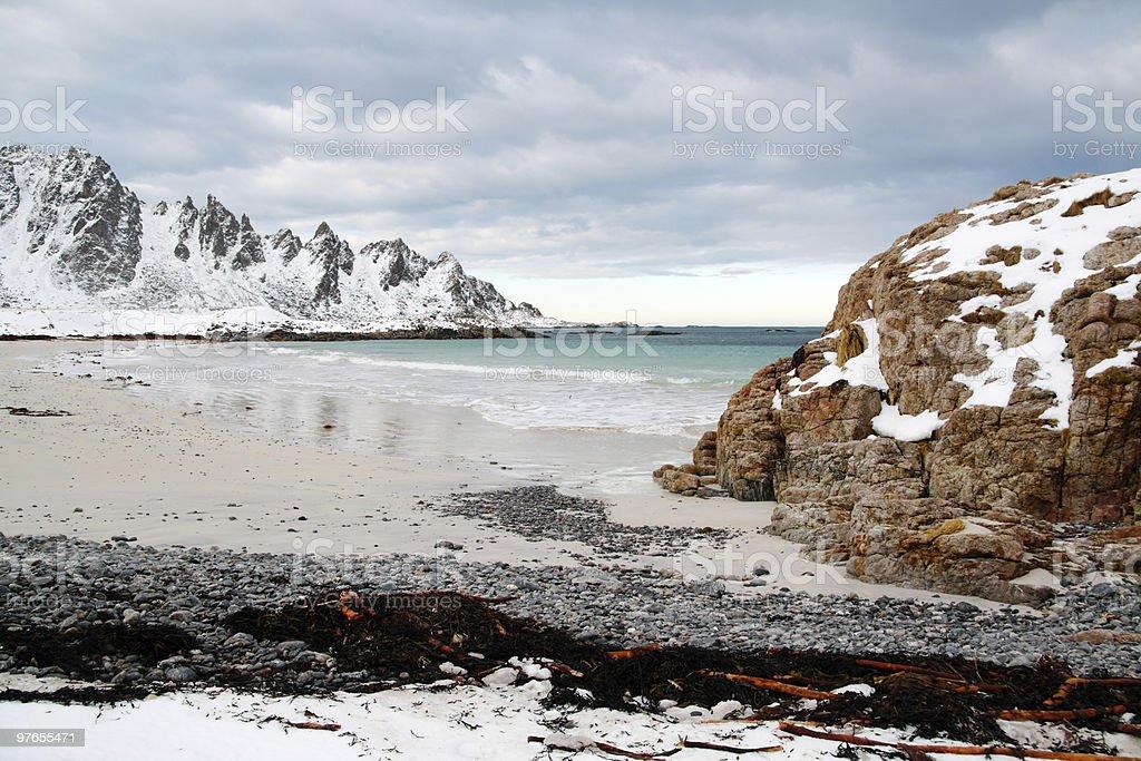 Rocky coastline and dramatic sky royalty-free stock photo
