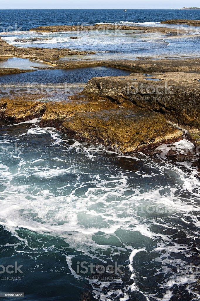 Rocky Coastline and Waves stock photo