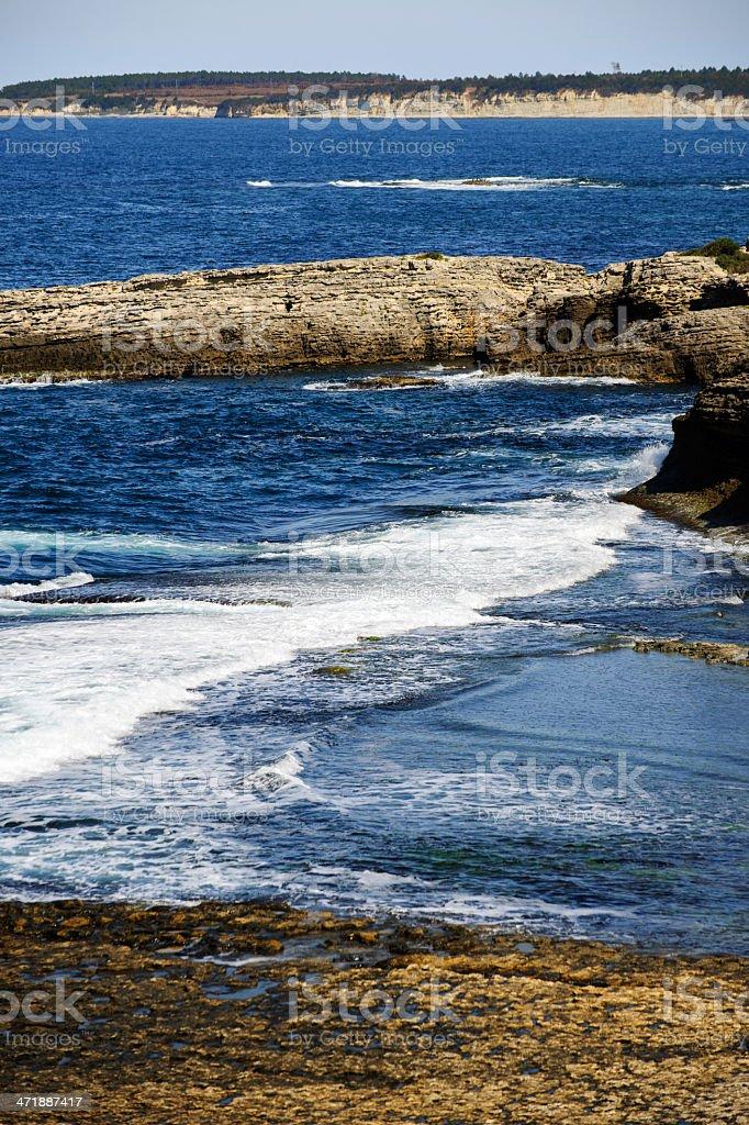 Rocky Coastline and Waves royalty-free stock photo