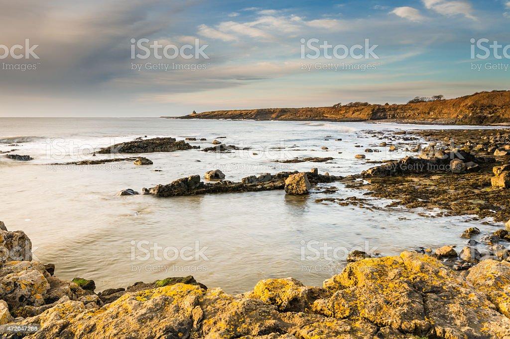 Rocky coastline at Howick stock photo