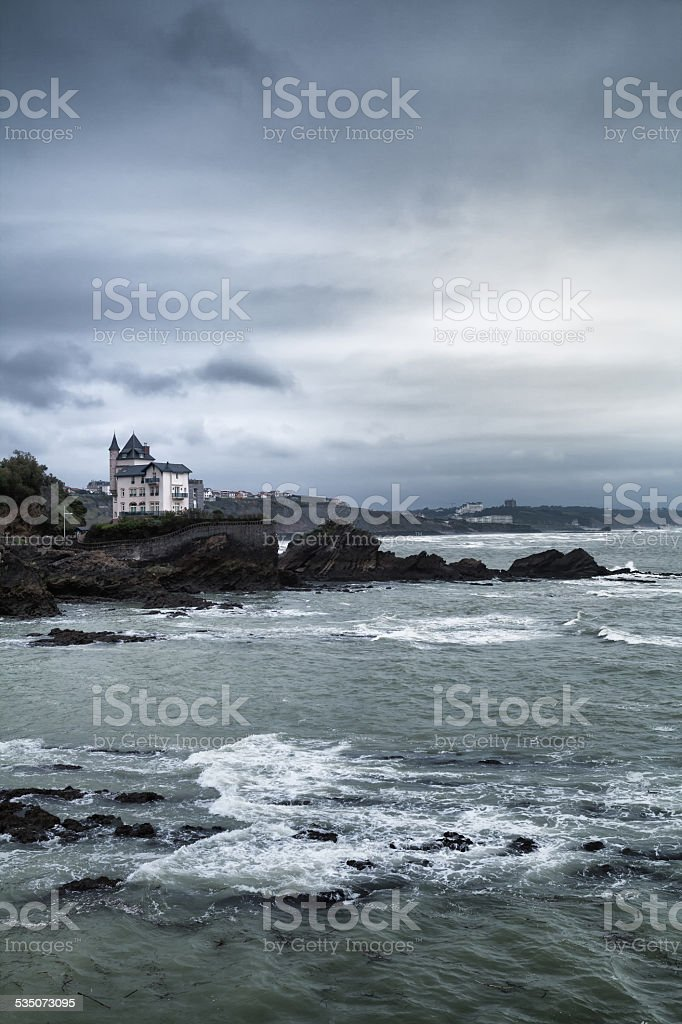 Rocky coastline in Biarritz, Pays Basque, France stock photo