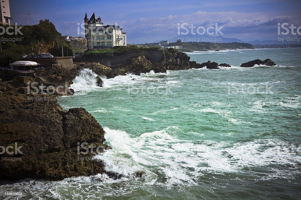 Rocky coastline in Biarritz stock photo