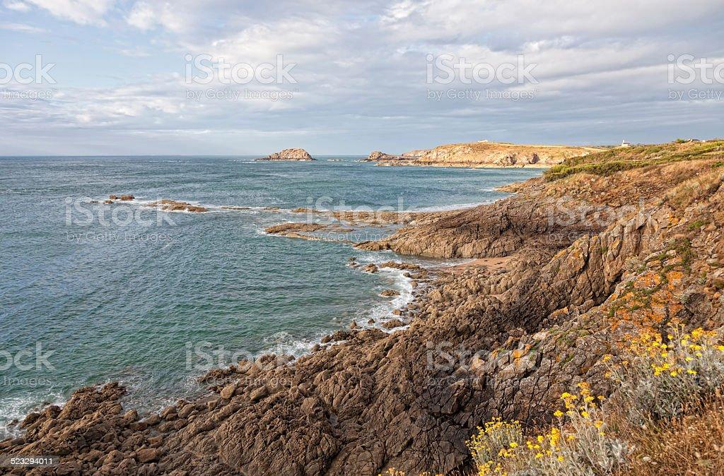 Rocky coastline in Brittany stock photo