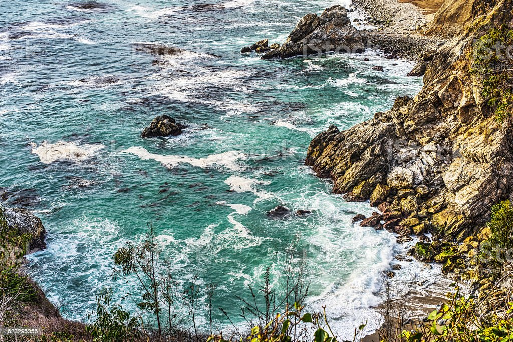 Rocky coastline in Bug Sur state park stock photo
