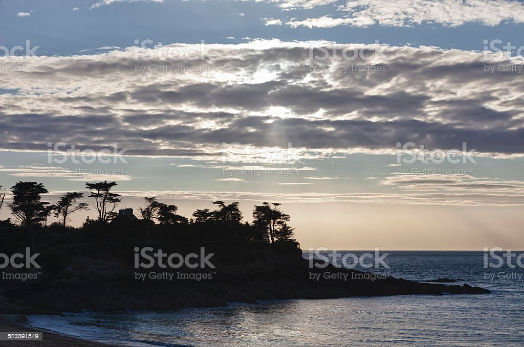 Rocky coastline in Saint-Malo stock photo