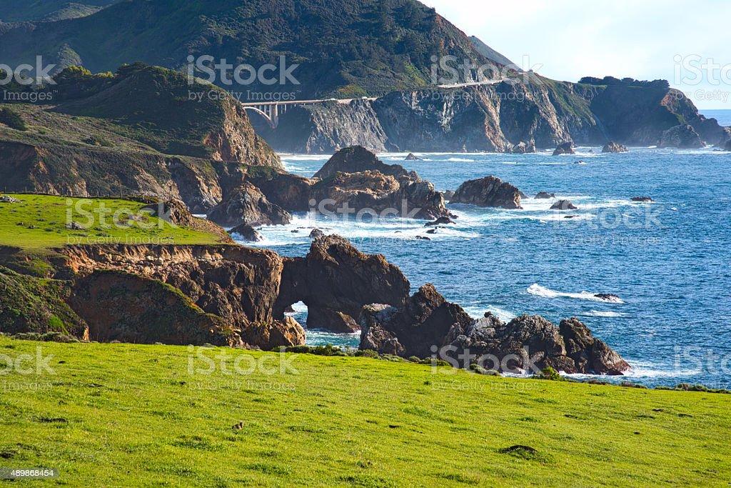 Rocky Coastline of Big Sur California stock photo