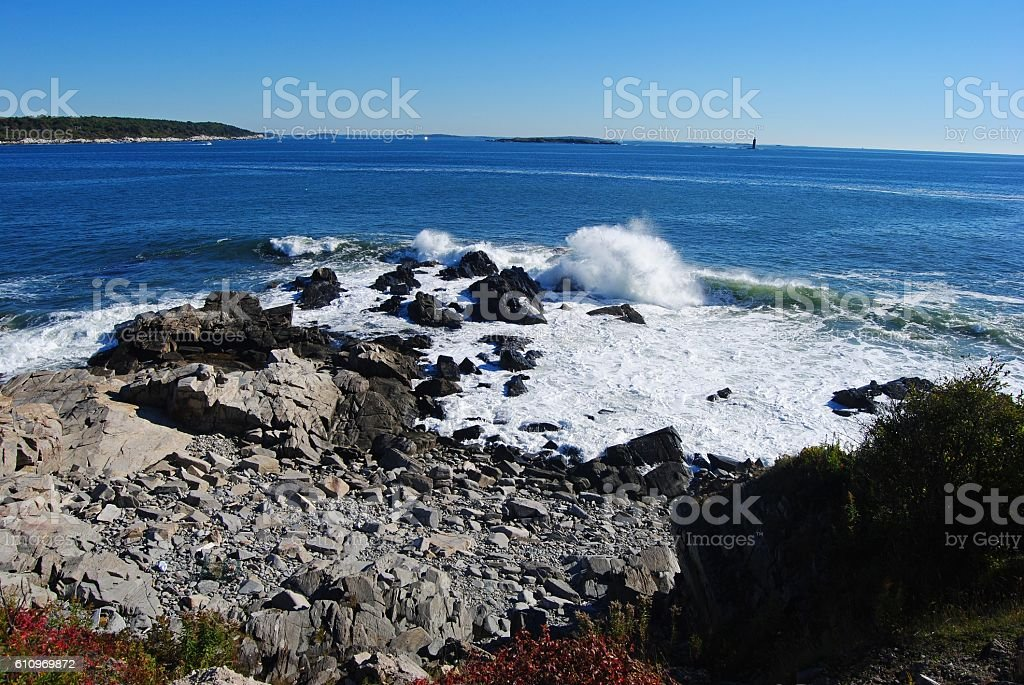 Rocky coastline of Cape Elizabeth in Maine. stock photo