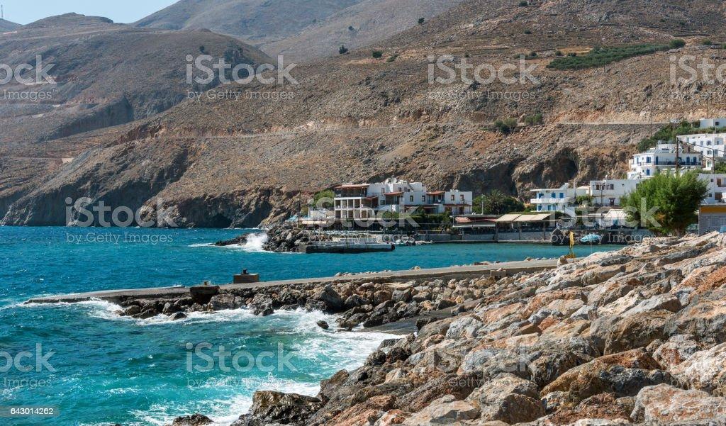 Rocky coastline of Crete island near Chora Sfakion town stock photo