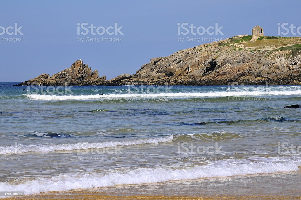 Rocky coastline of Quiberon in France stock photo
