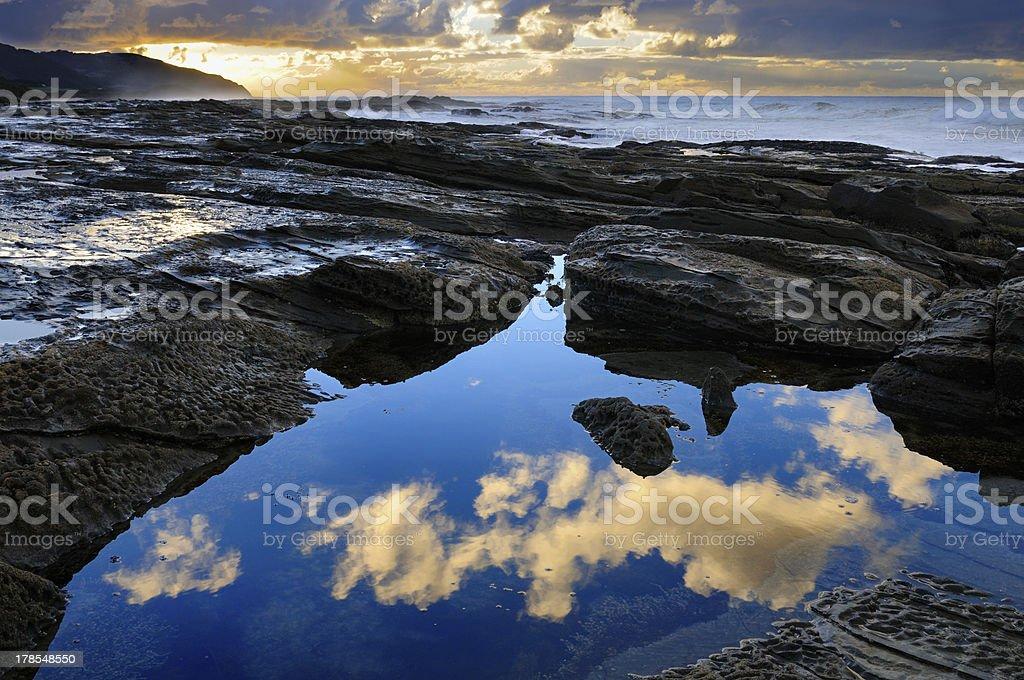 Rocky Coastline Reflections royalty-free stock photo
