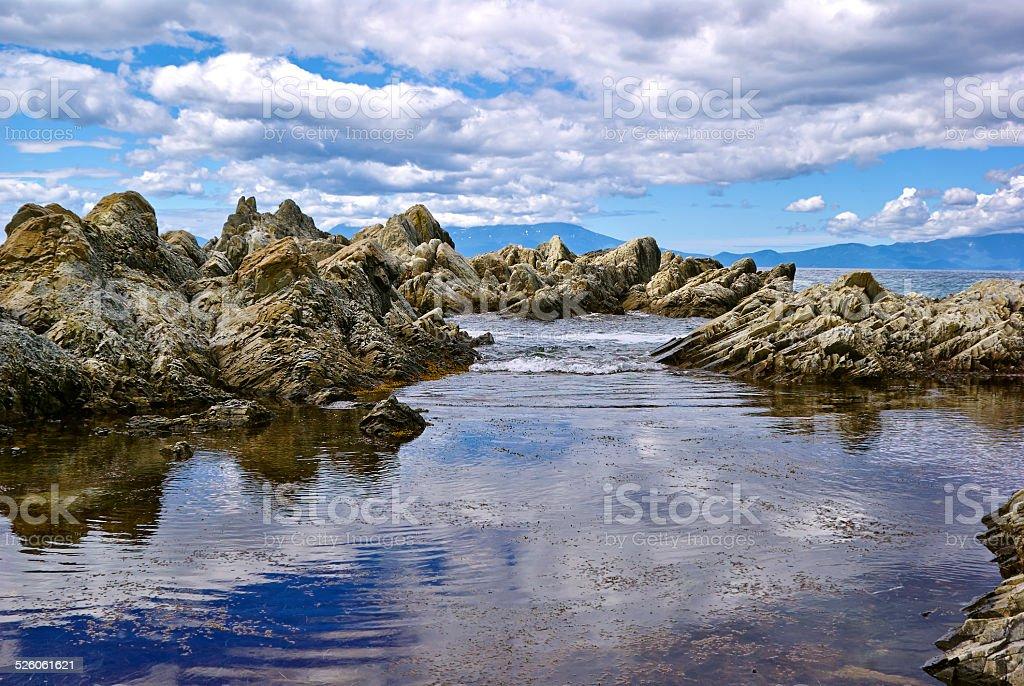 Rocky coastline sea sky water stock photo