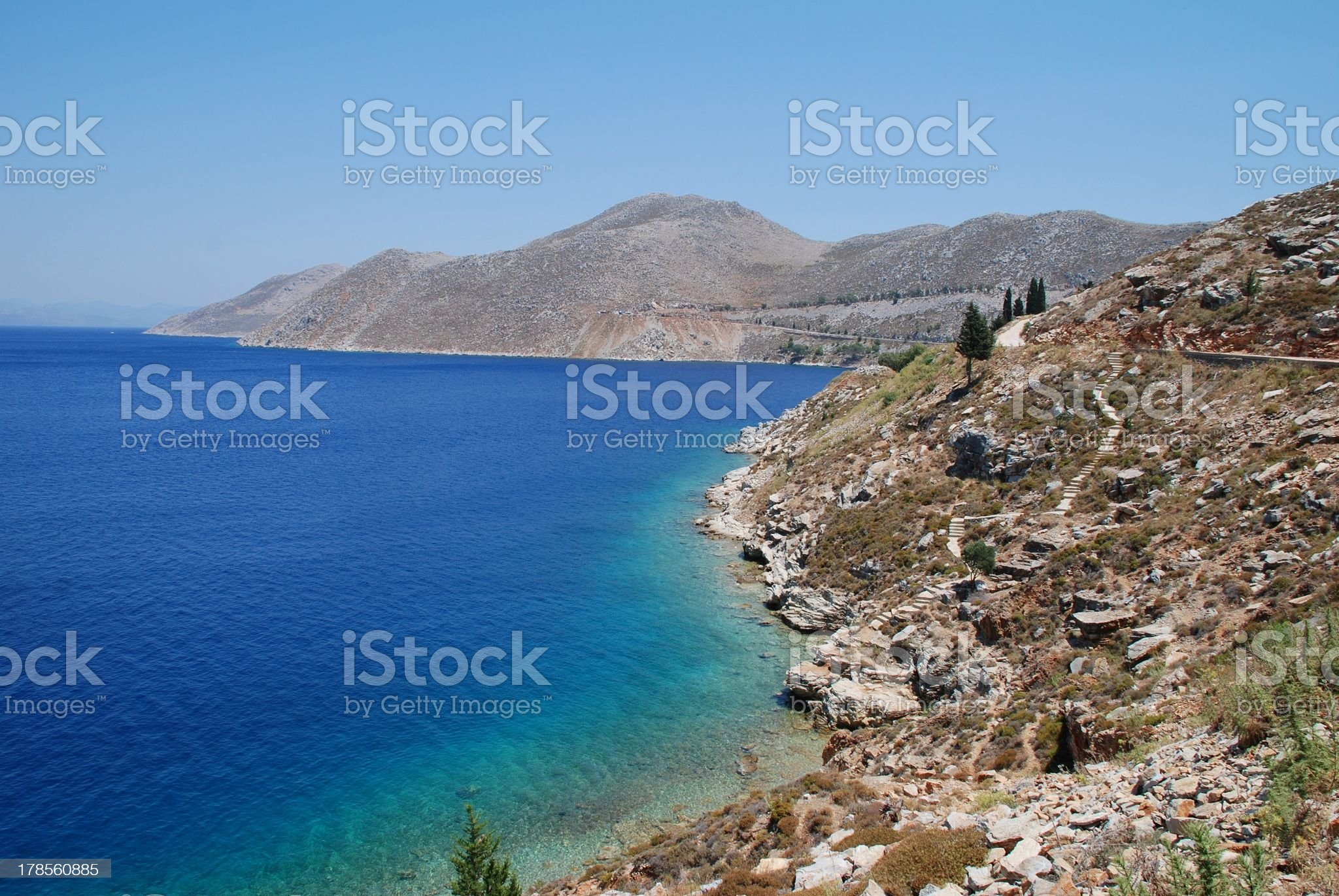 Rocky coastline, Symi island royalty-free stock photo