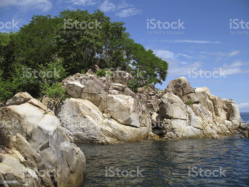 Rocky Cove and Trees stock photo