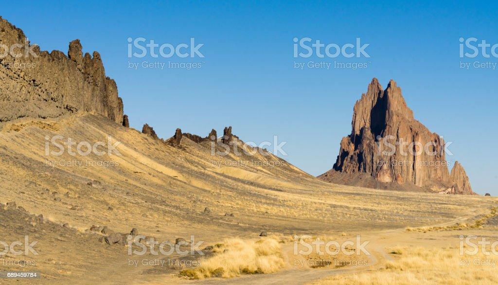 Rocky Craggy Butte Shiprock New Mexico United States stock photo