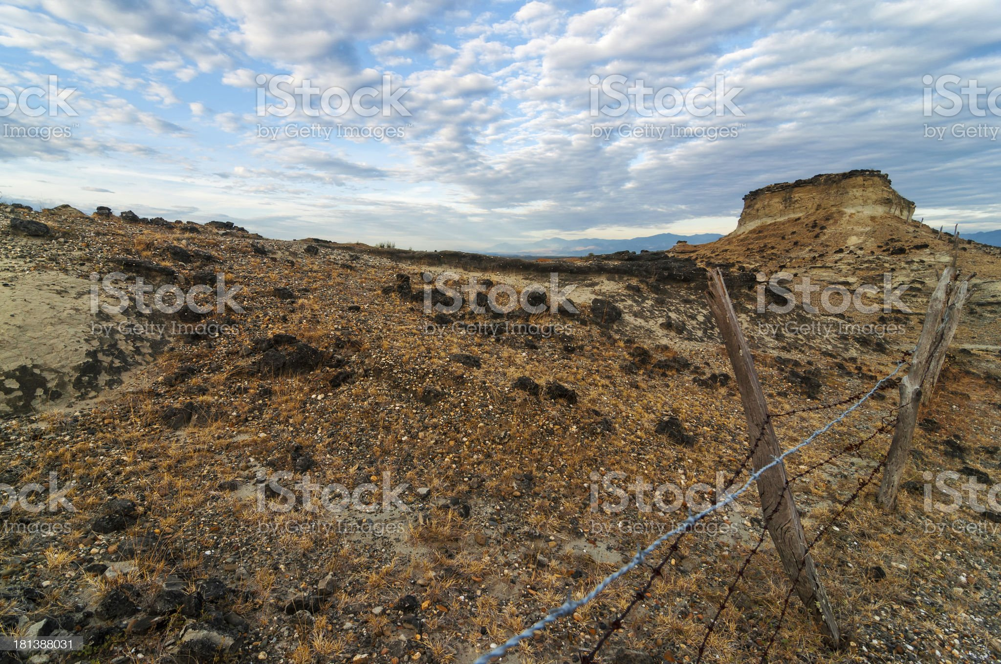 Rocky Desert and Fence royalty-free stock photo