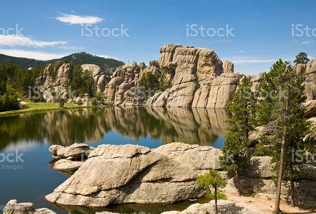 Rocky hills by a lake, Black Hills, South Dakota  stock photo