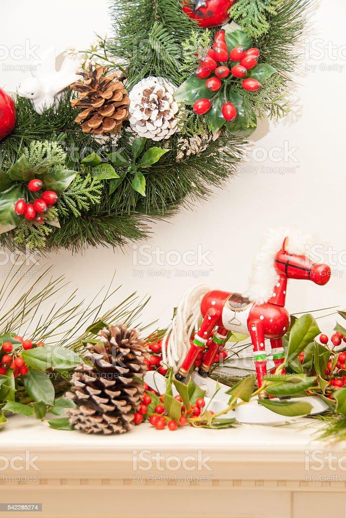 Rocky Horse Christmas and Holly III stock photo