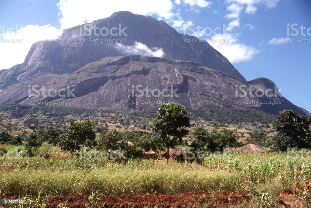Rocky igneous volcanic dome of Mulanje Mountain Forest Preserve in southern Malawi Africa stock photo