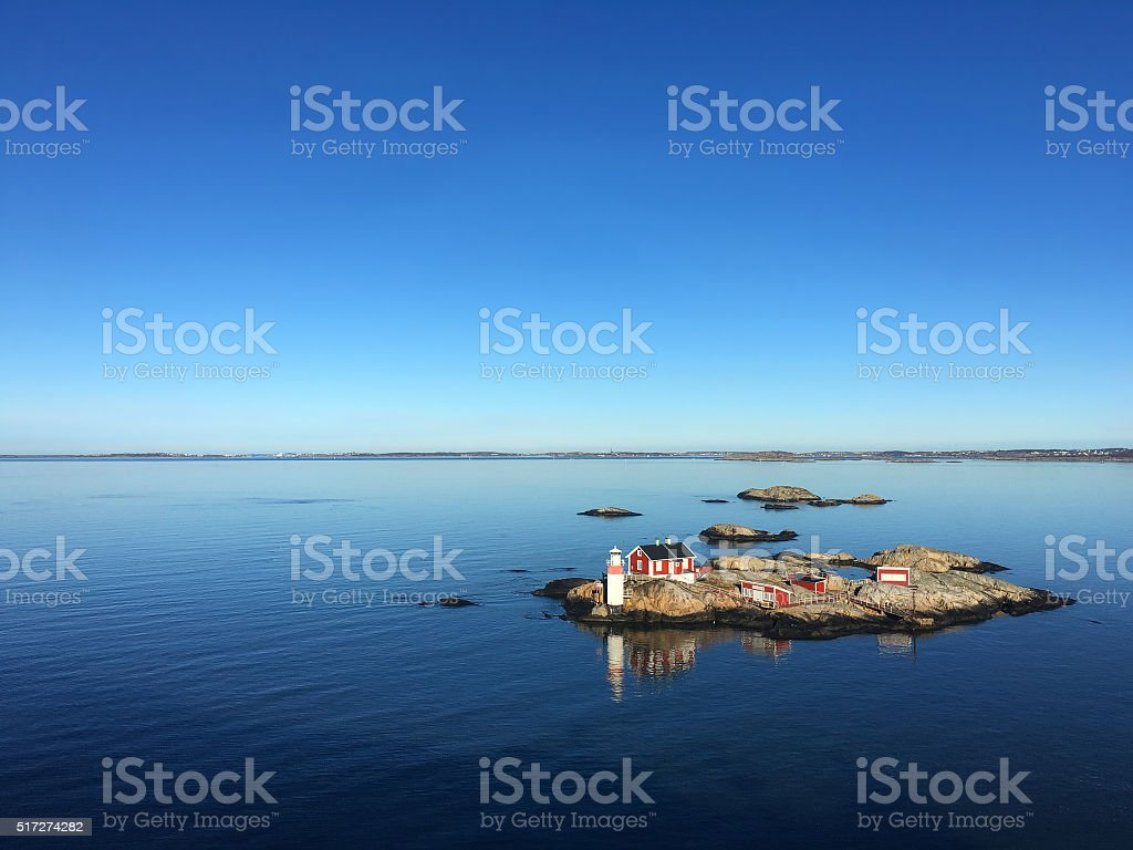 Rocky Island in a Fjord of Sweden stock photo