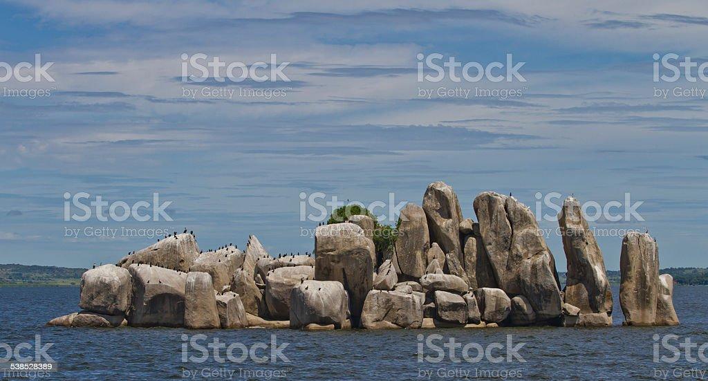Rocky island in Lake Victoria stock photo