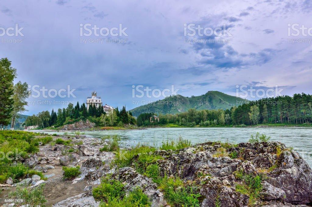 Rocky island on the mountain river Katun (Russia) - summer landscape stock photo