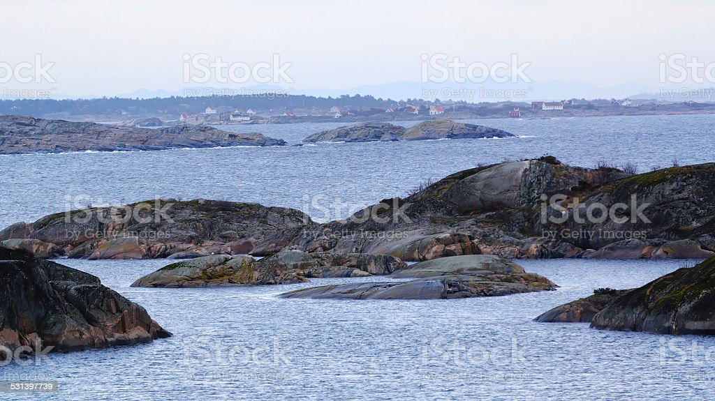 Rocky islets covered with moss stock photo