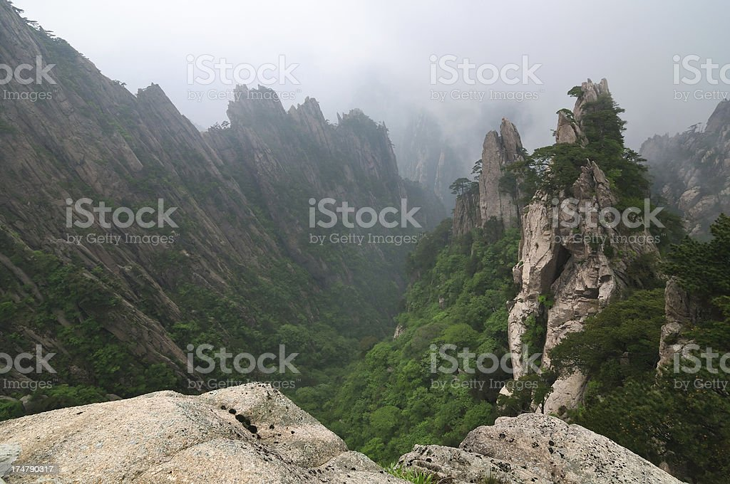Rocky landscape in Huangshan mountains royalty-free stock photo