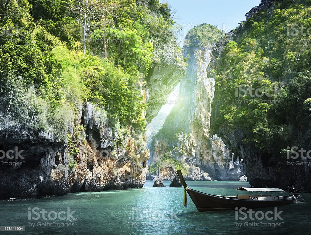 Rocky landscape in Railay beach, Krabi, Thailand stock photo